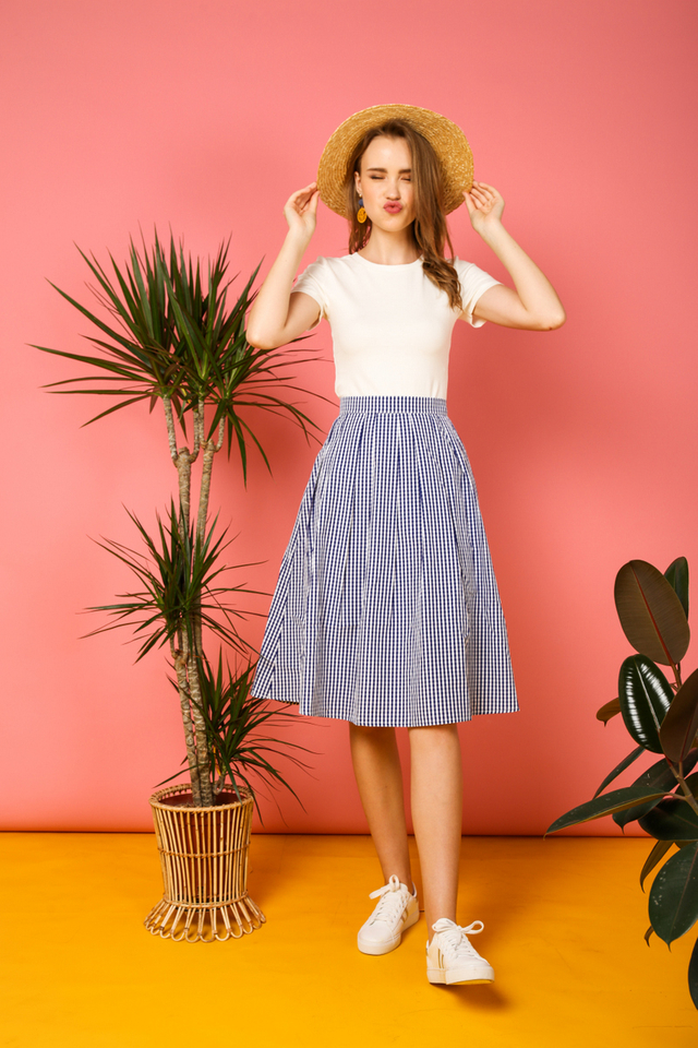Bree Gingham Midi Skirt in Blue