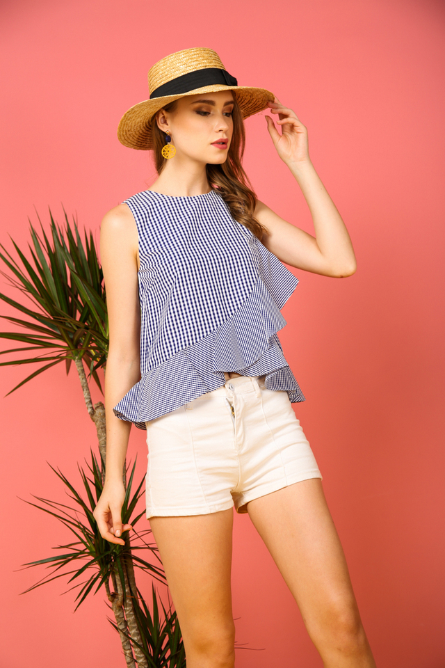 Mayven Gingham Ruffles Top in Blue (L)