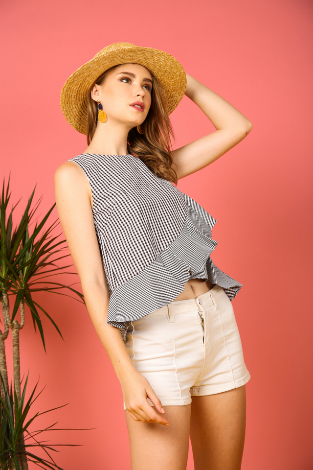 Mayven Gingham Ruffles Top in Black