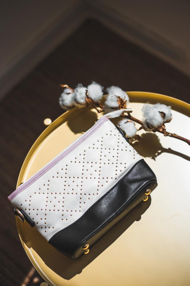 Delaney Studded Purse Sling Bag in Ivory