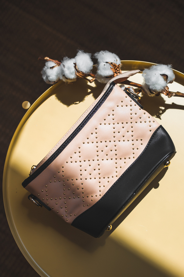 Delaney Studded Purse Sling Bag in Beige
