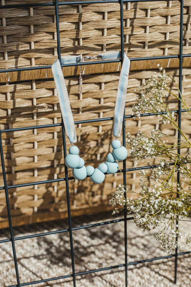 Mae Ball Necklace in Light Blue