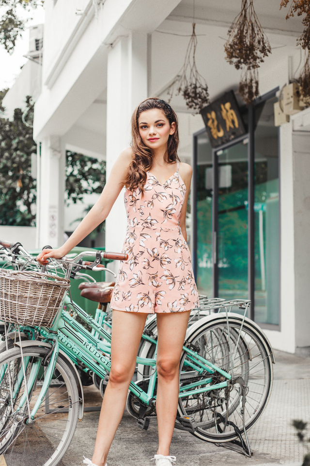 Calise Floral Romper in Pastel Pink