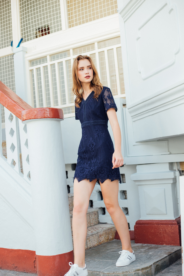 Hebe Crochet Fringe Hem Dress in Navy
