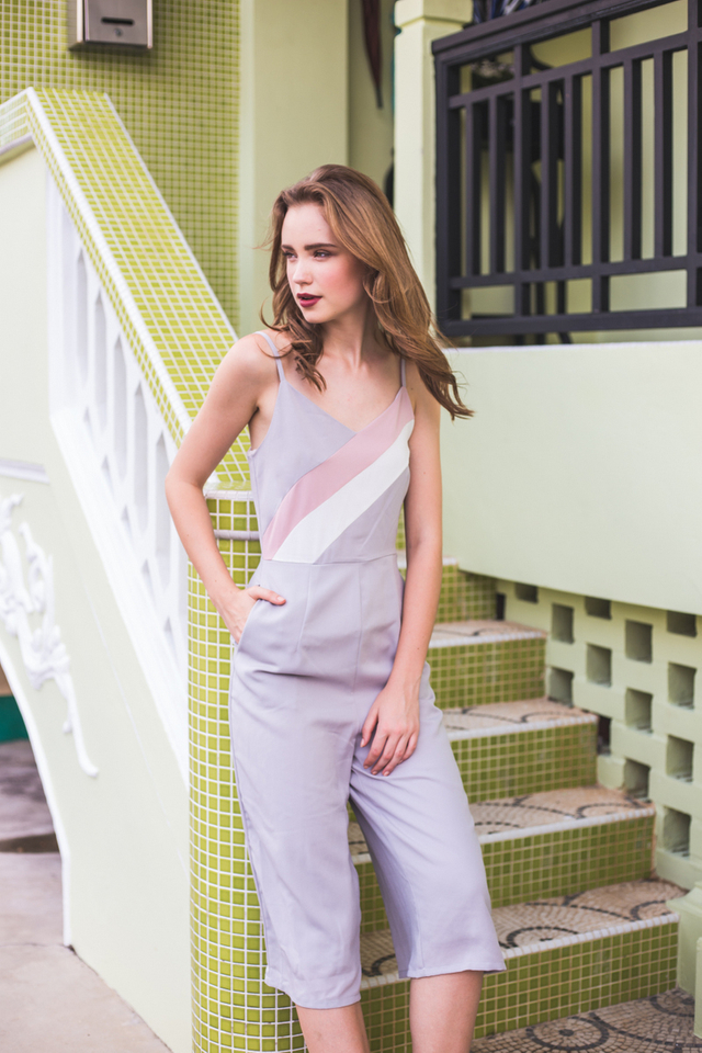 Jei Colourblock Jumpsuit in Grey