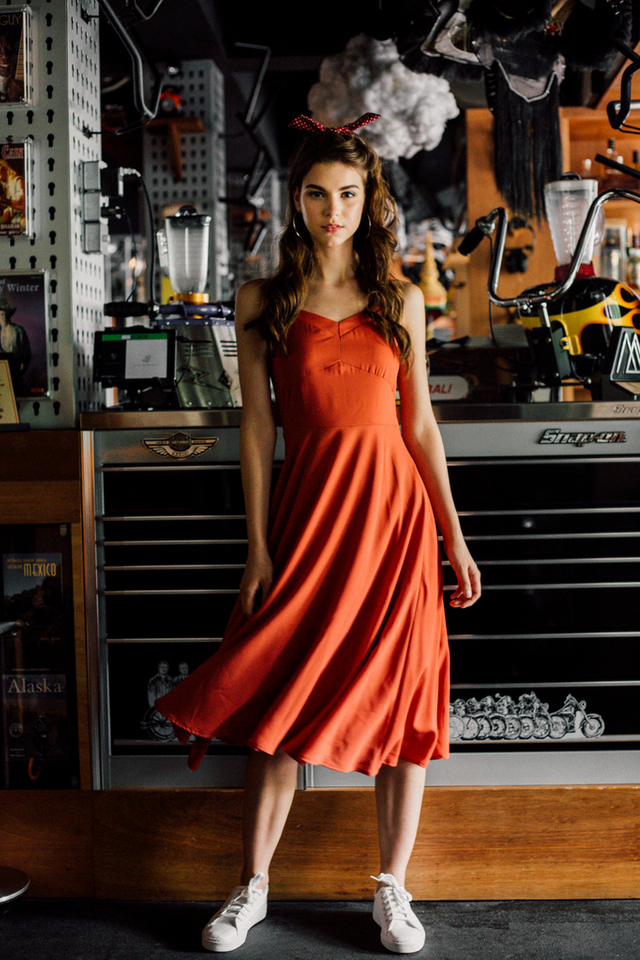 Rhiannon Flare Dress in Burnt Orange