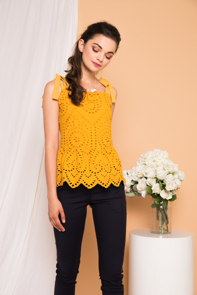 Julian Eyelet Babydoll Top in Mustard