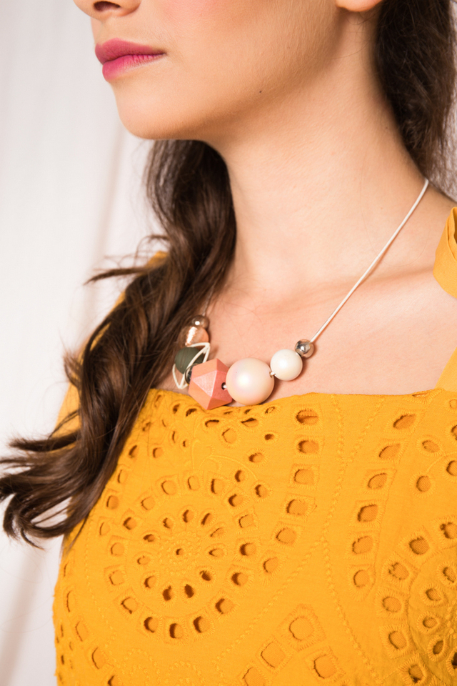 Melaina Geometric Necklace in Pink