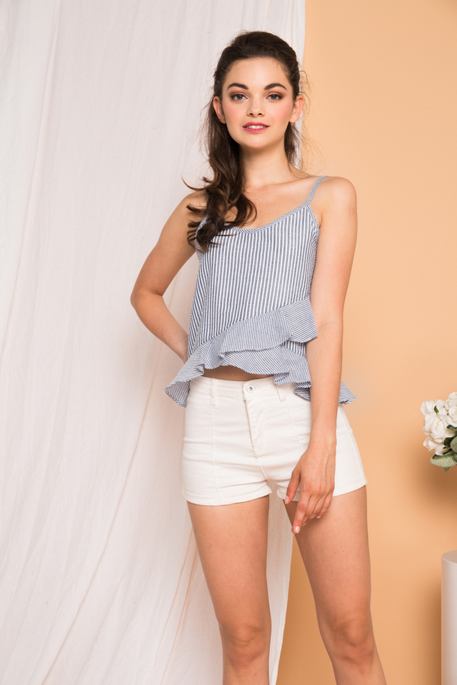 Ona Striped Ruffles Top in Grey