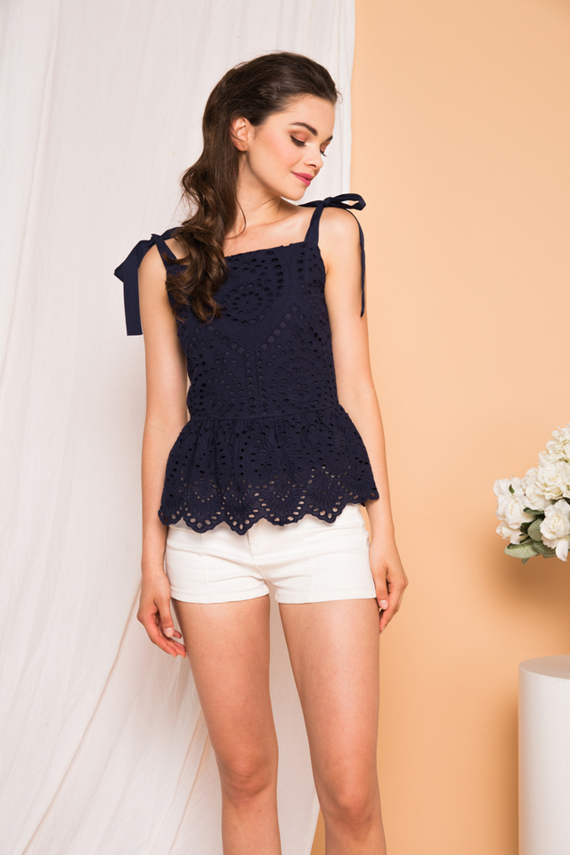 Julian Eyelet Babydoll Top in Navy (L)