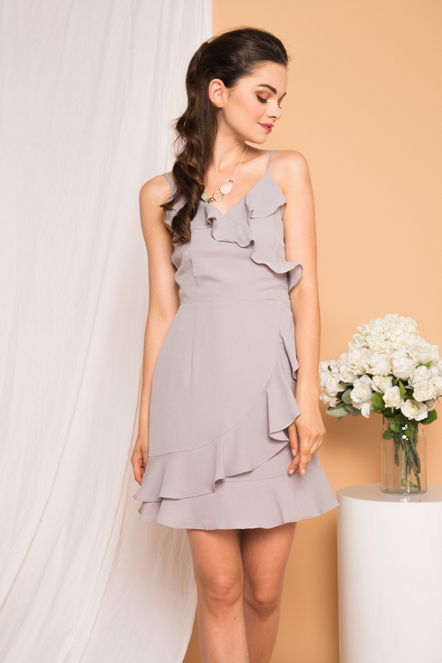 Evie Ruffled Cami Dress in Grey