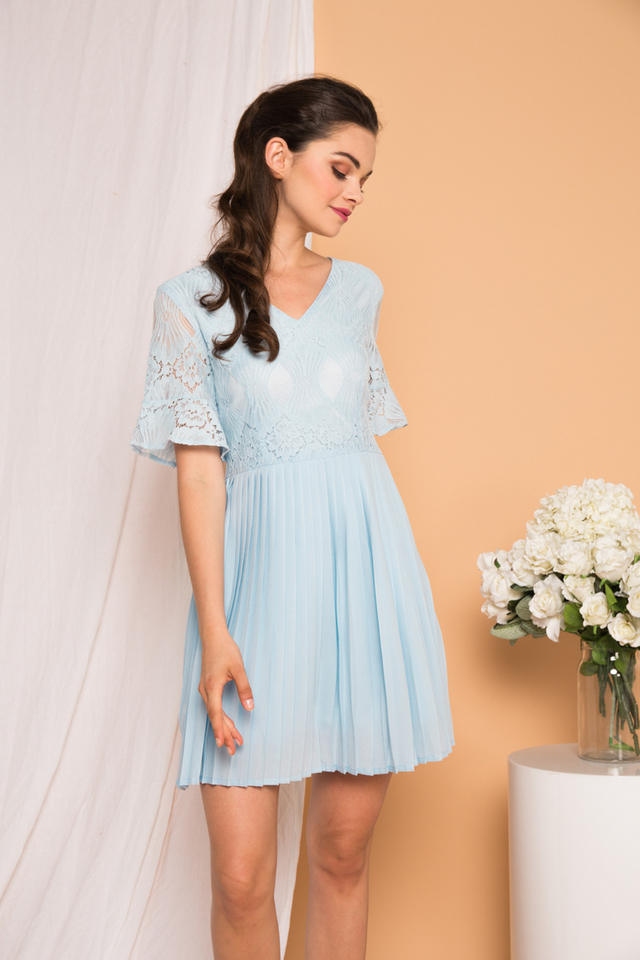 Zann Lace Pleated Dress in Light Blue