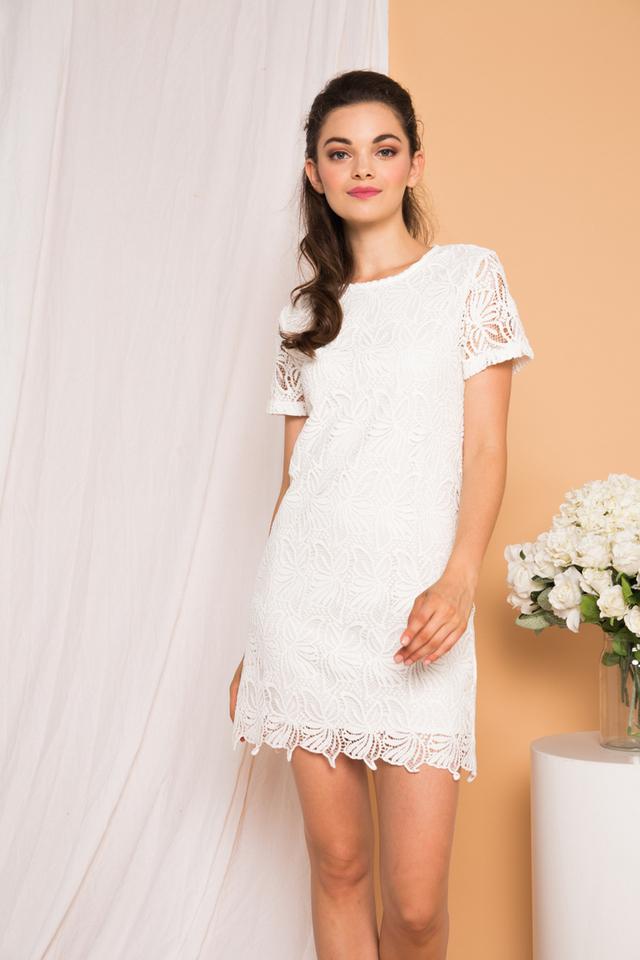 Rowen Floral Crochet Shift Dress in White (L)