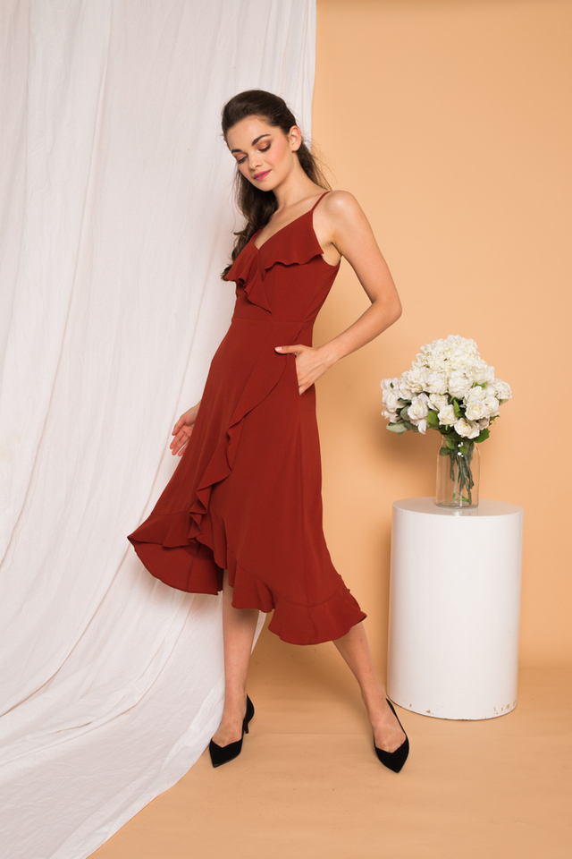 Kezlyn Ruffles Maxi Dress in Burnt Orange (XL)