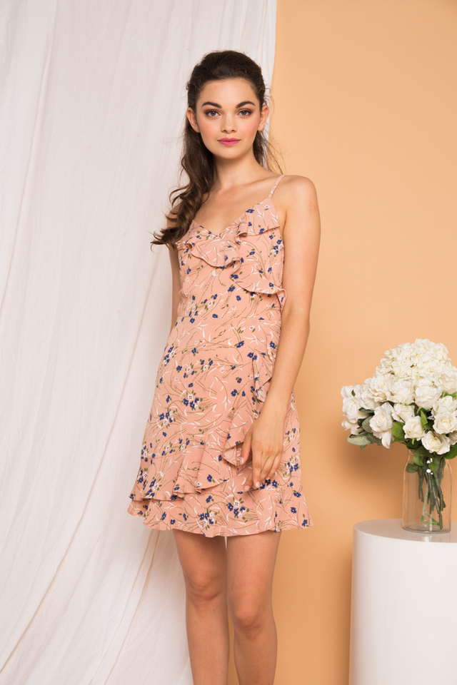 Colette Floral Ruffles Dress in Peach Pink