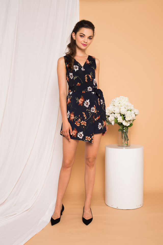 Liora Floral Overlay Romper in Navy