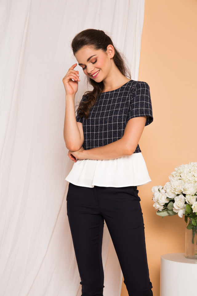 Lexis Tweed Checkered Top in Navy
