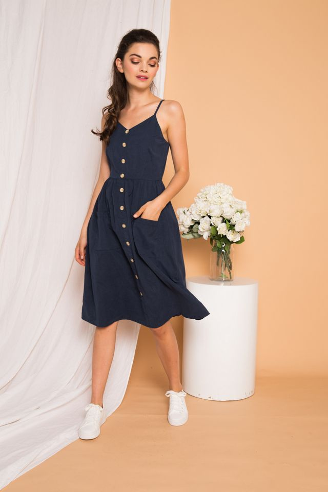 Leandra Button-down Midi Dress in Navy