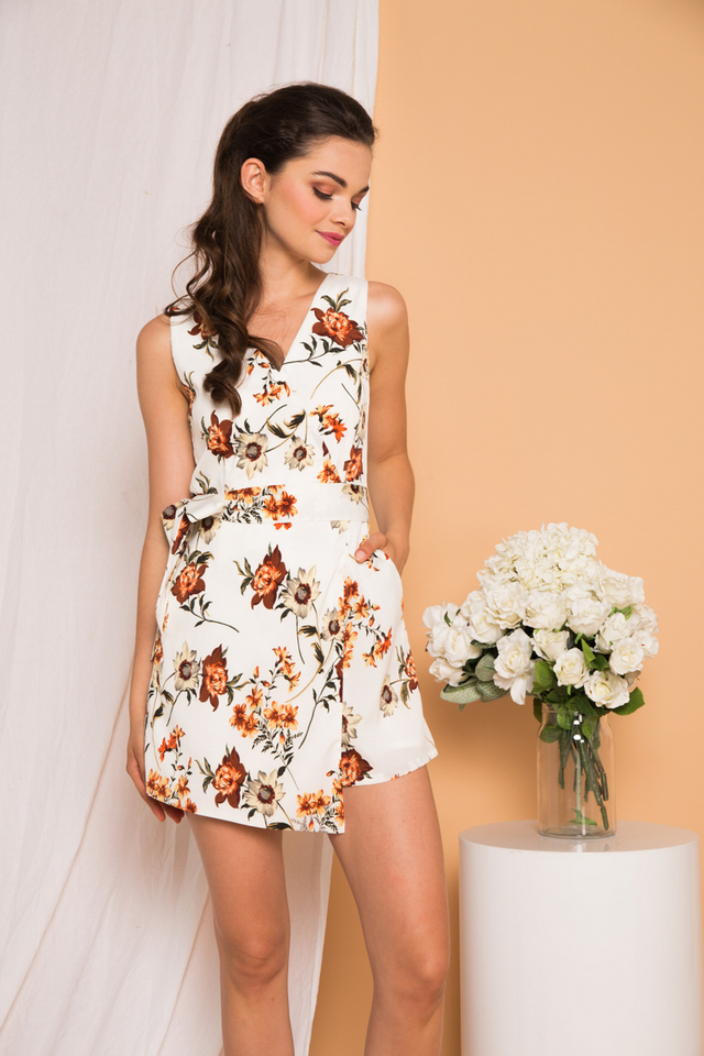Liora Floral Overlay Romper in White