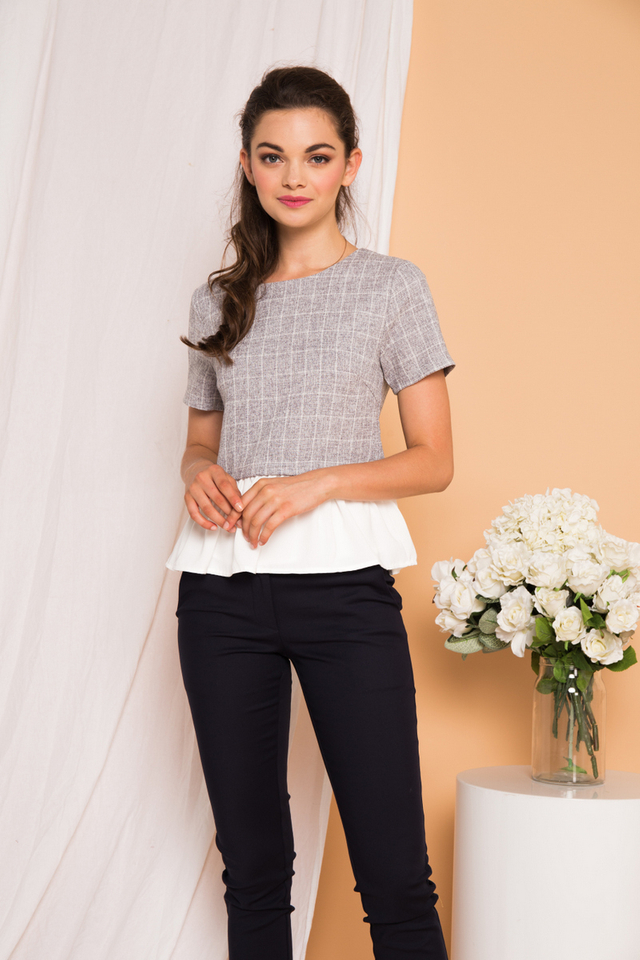 Lexis Tweed Checkered Top in Grey
