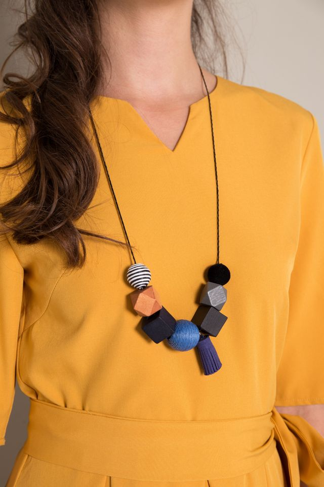 Talin Geometric Necklace in Blue