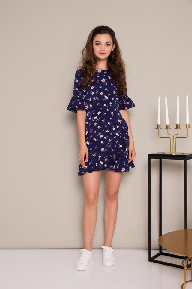 Soren Floral Ruffles Dress in Navy Blue