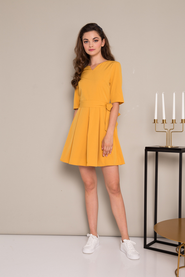Catina Ribbon Pleated Dress in Mustard