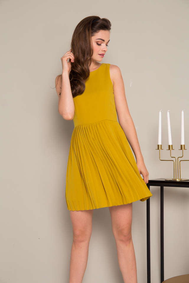 Renly Accordion Pleated Dress in Mustard