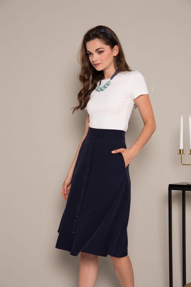 Odessa Button Down Midi Skirt in Navy Blue (XS)