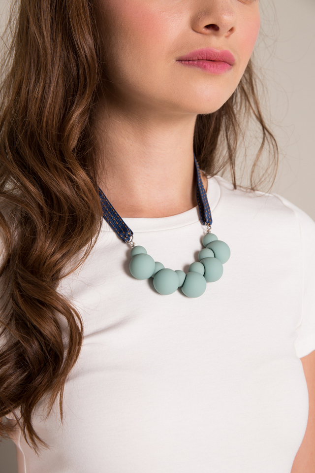 Mae Ball Necklace in Teal