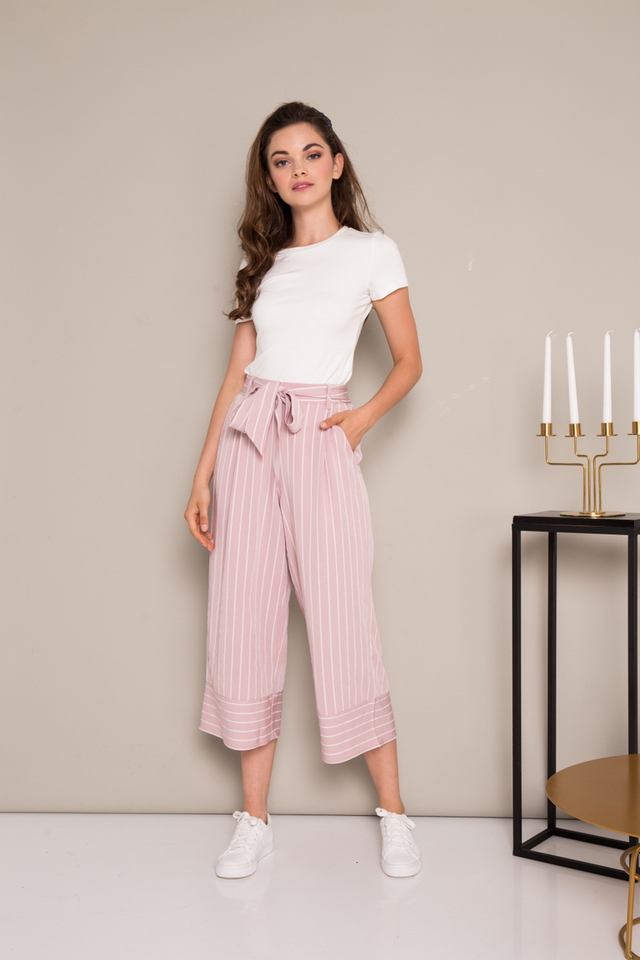 Madelyn Striped Paperbag Culottes in Dusty Pink (L)