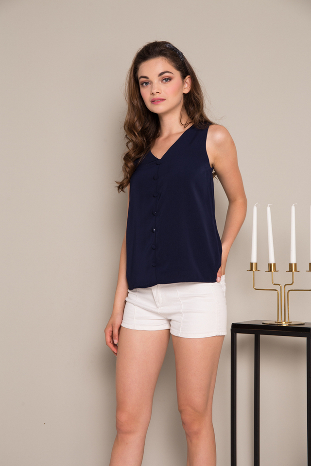 Mason Button Down Flare Top in Navy