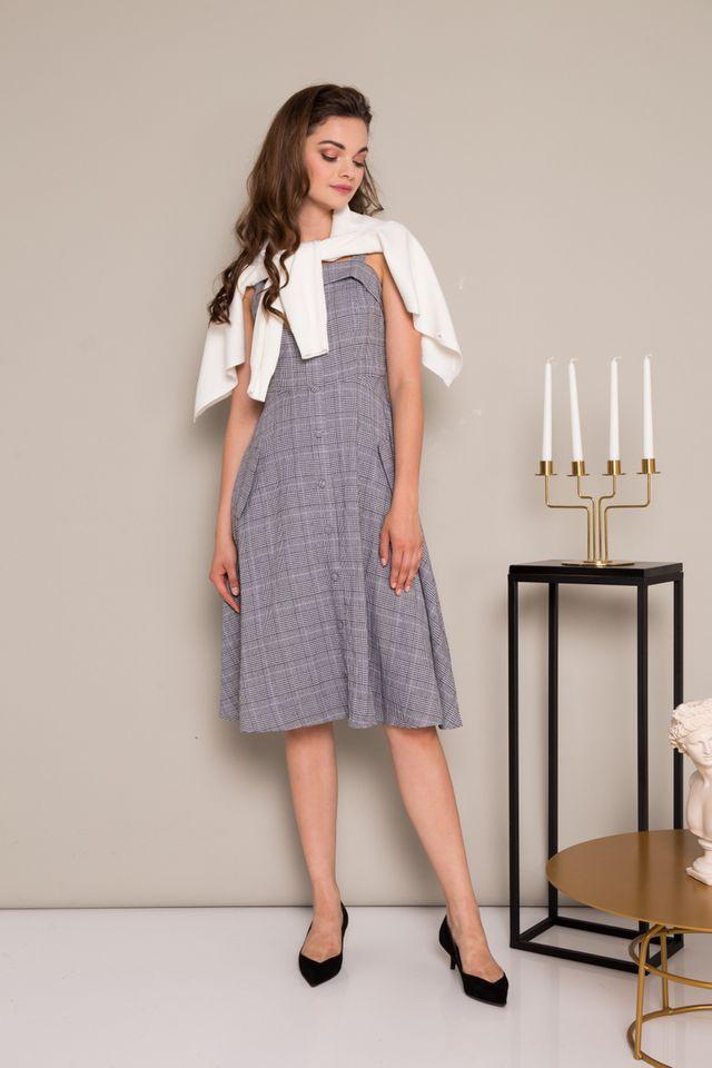 Emilia Plaid Button Down Midi Dress in Grey (M)