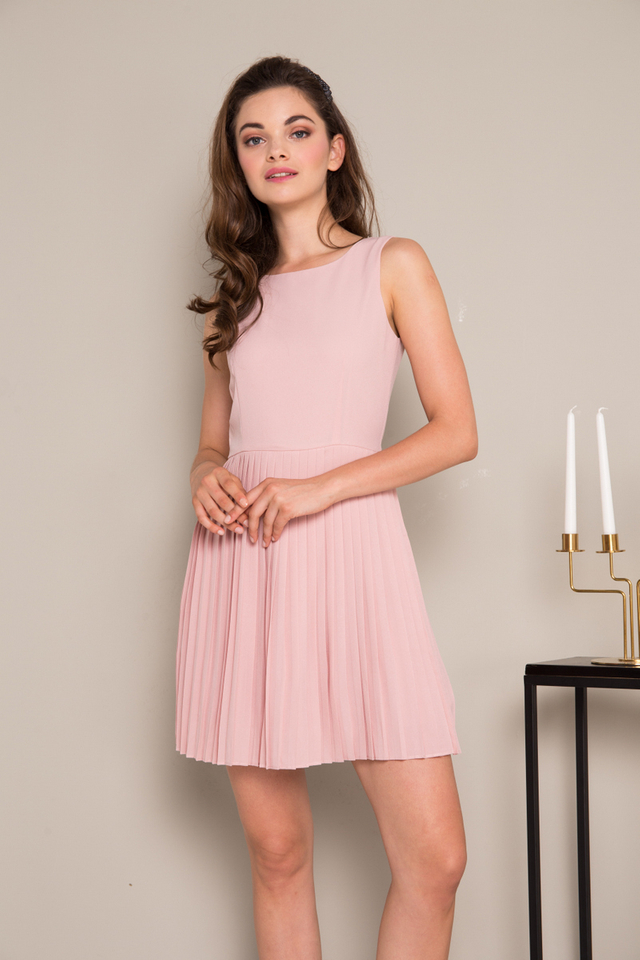 Renly Accordion Pleated Dress in Dusty Pink