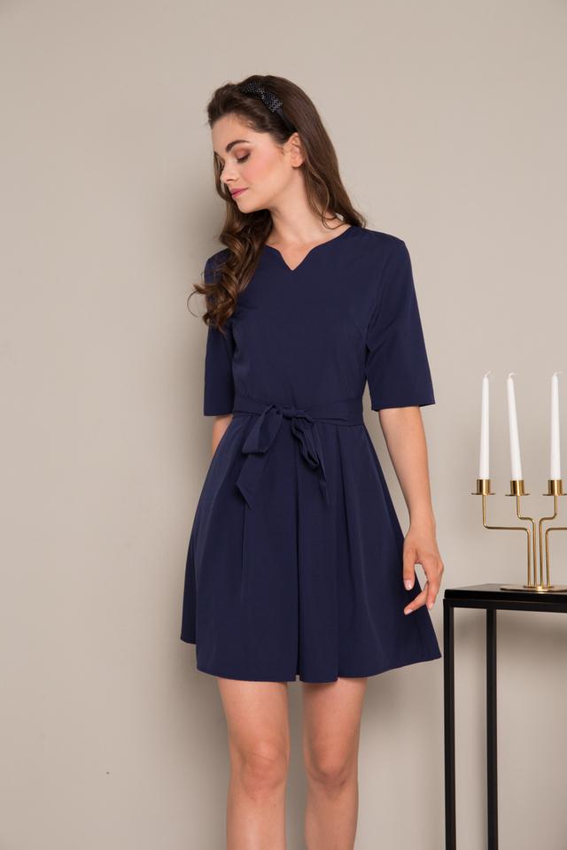 Catina Ribbon Pleated Dress in Navy Blue