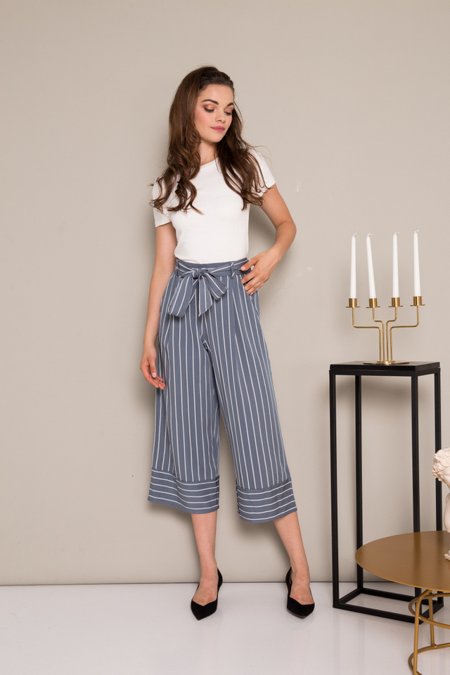 Madelyn Striped Paperbag Culottes in Steel Grey