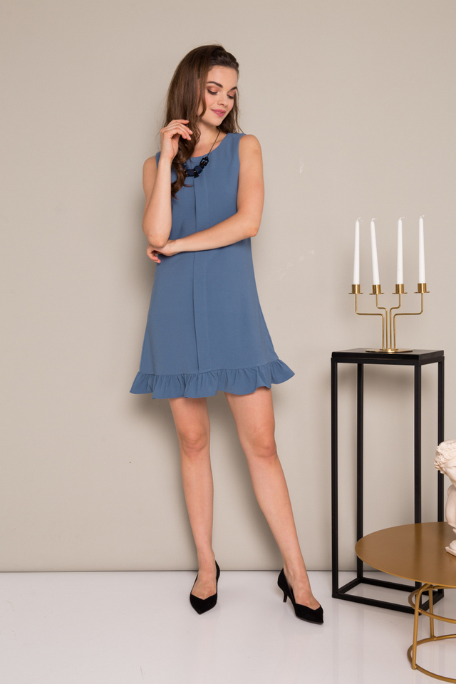 Everleigh Folded Ruffles Dress in Steel Blue