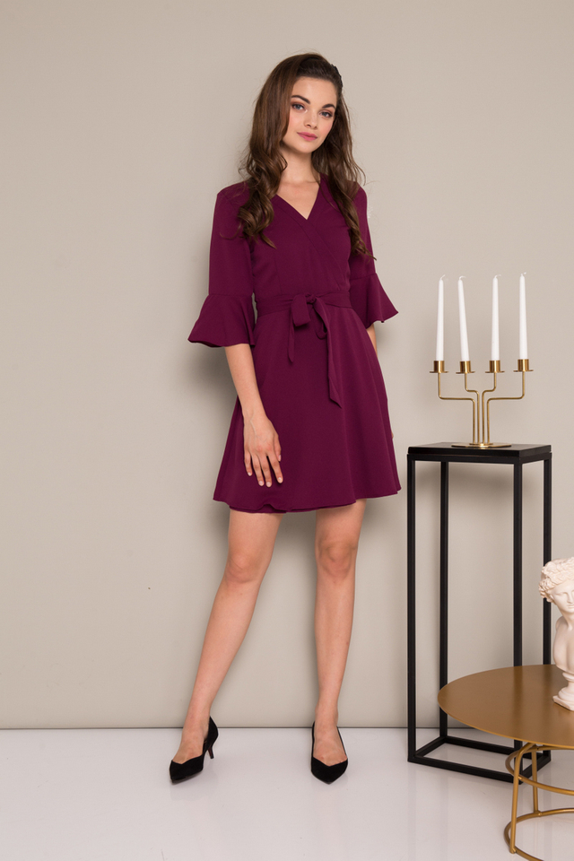 Scarlett Faux Wrap Flare Dress in Deep Purple