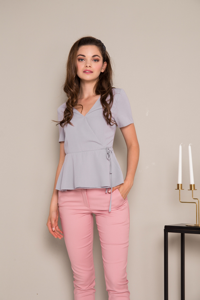Bria Faux Wrap Peplum Top in Grey