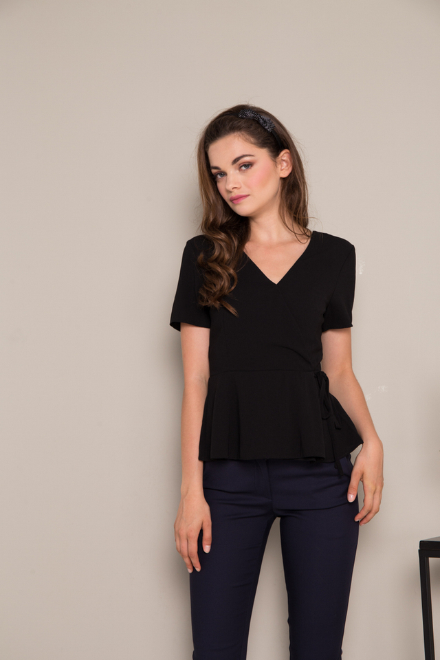 Bria Faux Wrap Peplum Top in Black