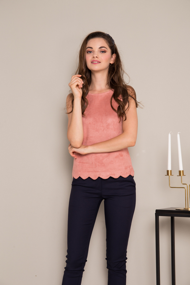 Leire Suede Scallop Hem Top in Terracotta