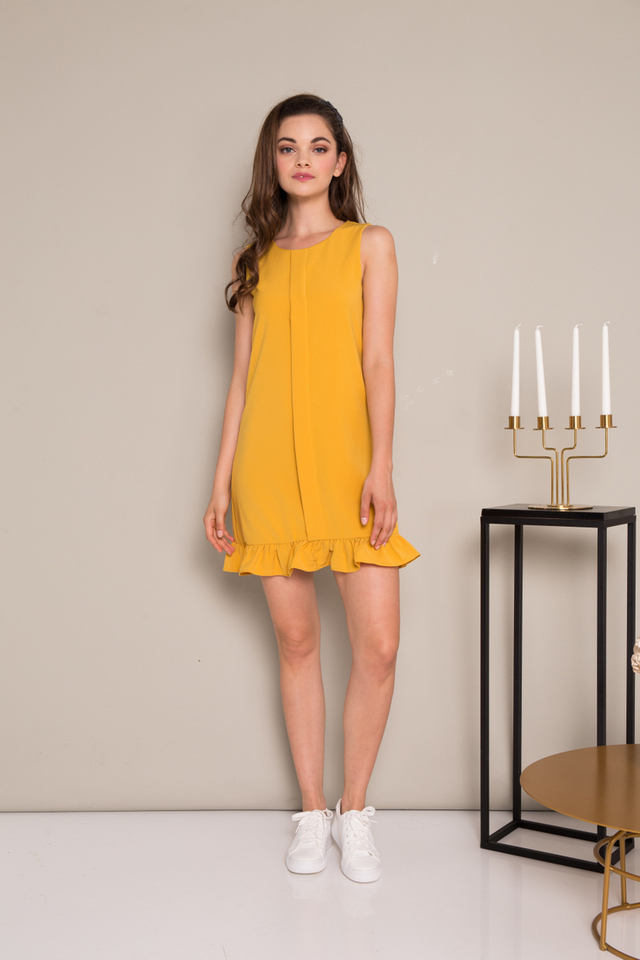 Everleigh Folded Ruffles Dress in Mustard