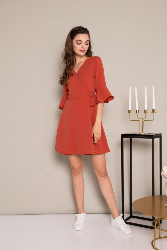 Scarlett Faux Wrap Flare Dress in Burnt Orange (XS)