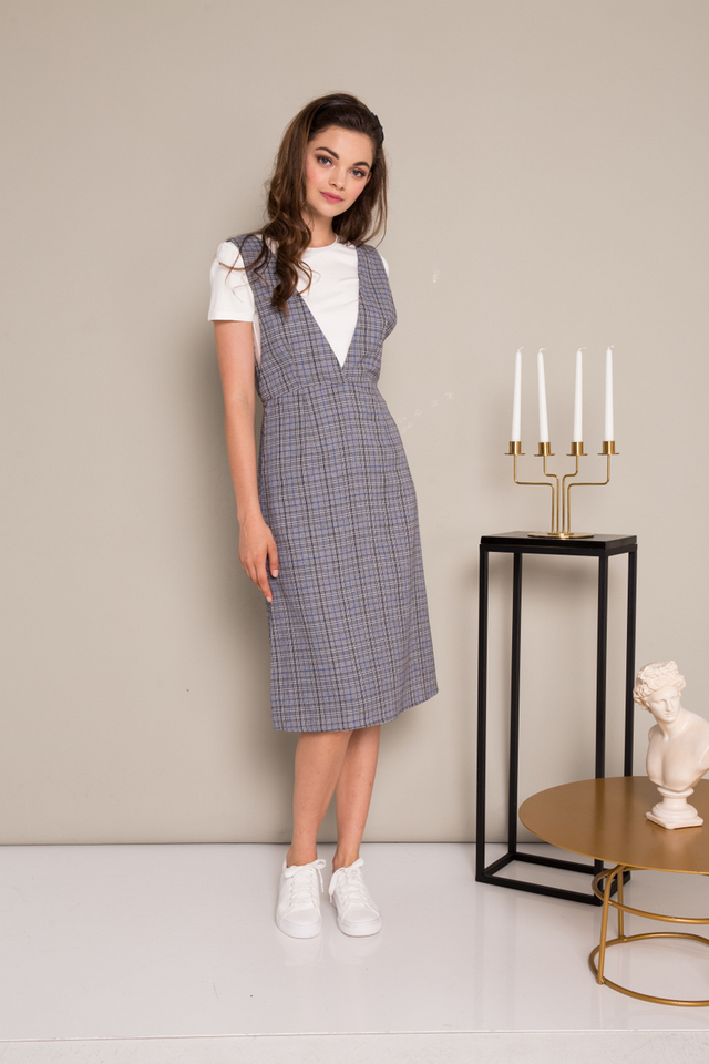 Leary Plaid Pinafore Dress in Grey