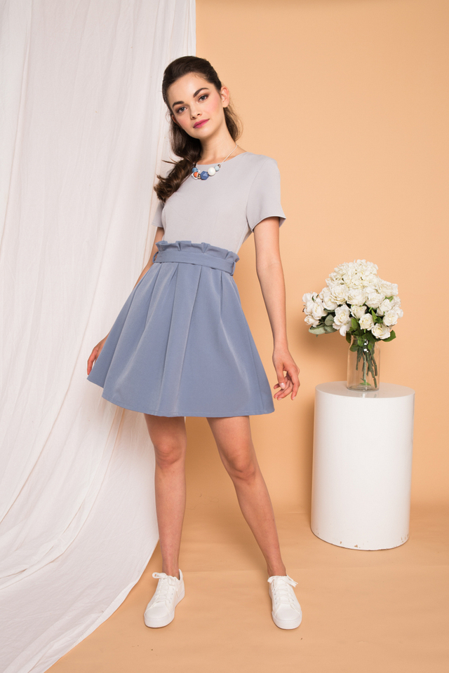 Dhara Paperbag-waist Dress in Grey