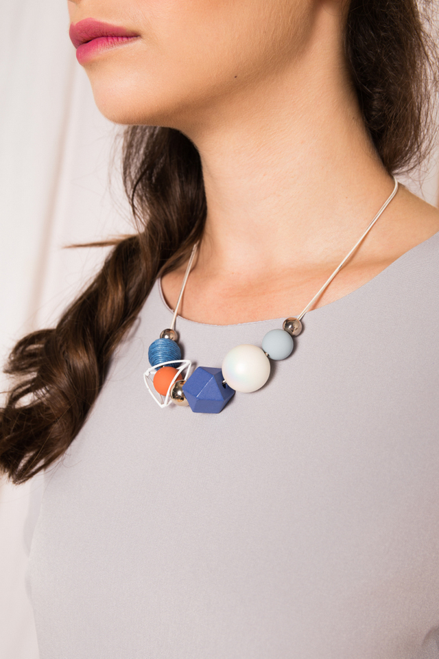 Melaina Geometric Necklace in Blue