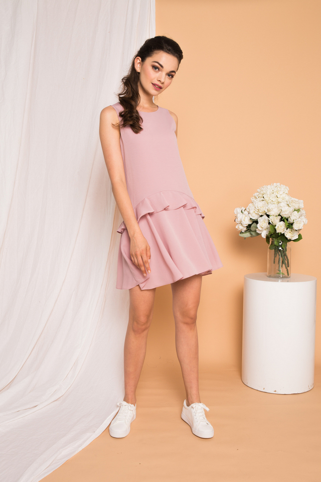 Kamden Asymmetrical Ruffles Dress in Dusty Pink
