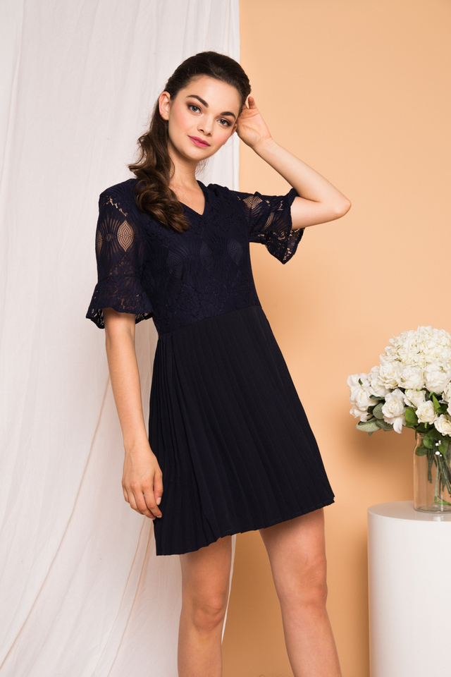 Zann Lace Pleated Dress in Navy