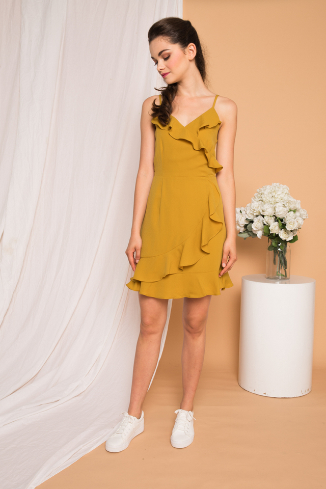 Evie Ruffled Cami Dress in Dusty Mustard