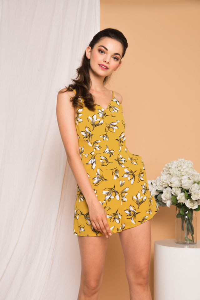 Calise Floral Romper in Mustard